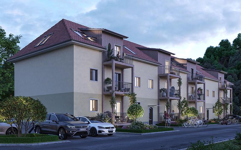Straßenansicht von Generationen Wohnen Thörl_ÖKO-Wohnbau